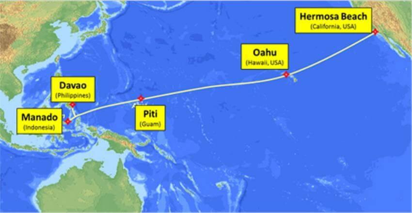 مسیر پروژه کابل کالیفرنیا به فیلیپین